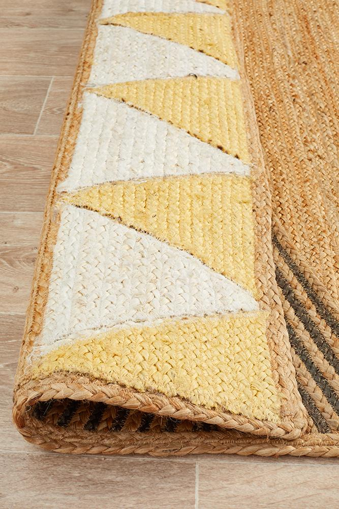 Electra Yellow & Black Jute Rug