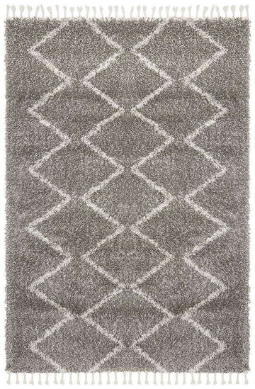 Kenza Grey Tribal Fringe Rug - Simple Style Co