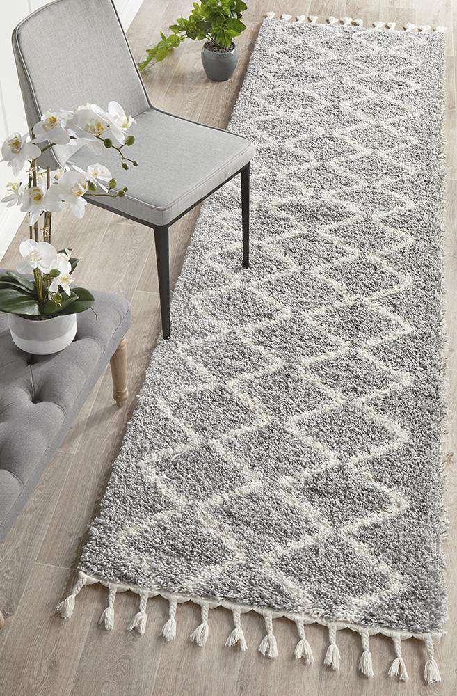 Kenza Silver Fringed Hallway Runner - Simple Style Co