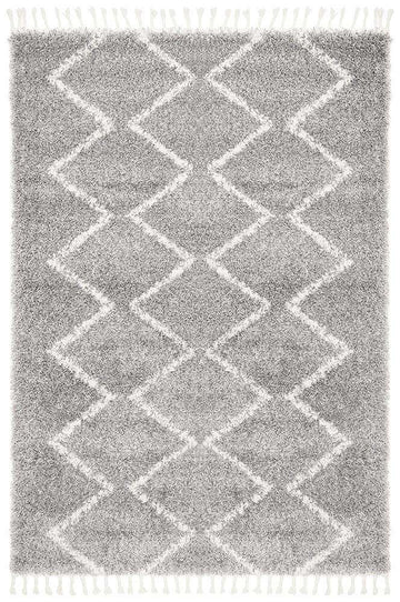 Kenza Silver Fringed Rug - Simple Style Co