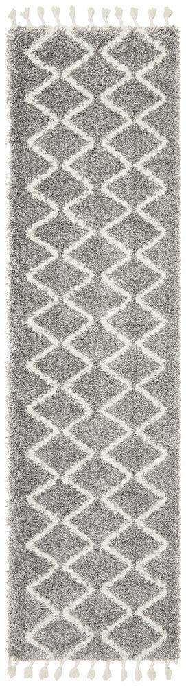 Kiyan Silver Fringed Hallway Runner - Simple Style Co