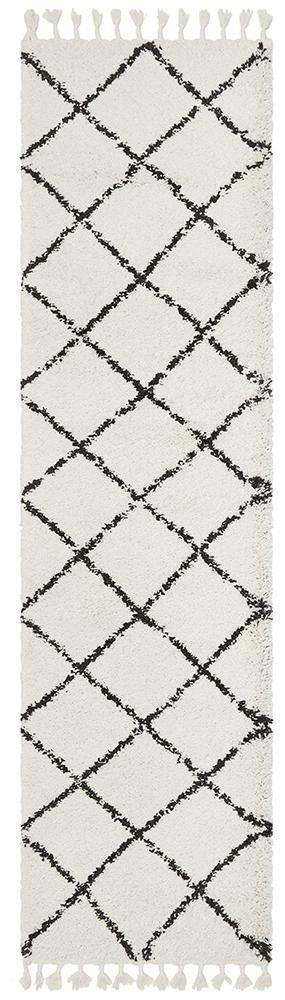 Kiyan White Fringed Hallway Runner - Simple Style Co