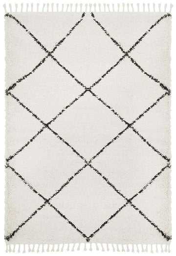 Kiyan White Fringed Rug - Simple Style Co