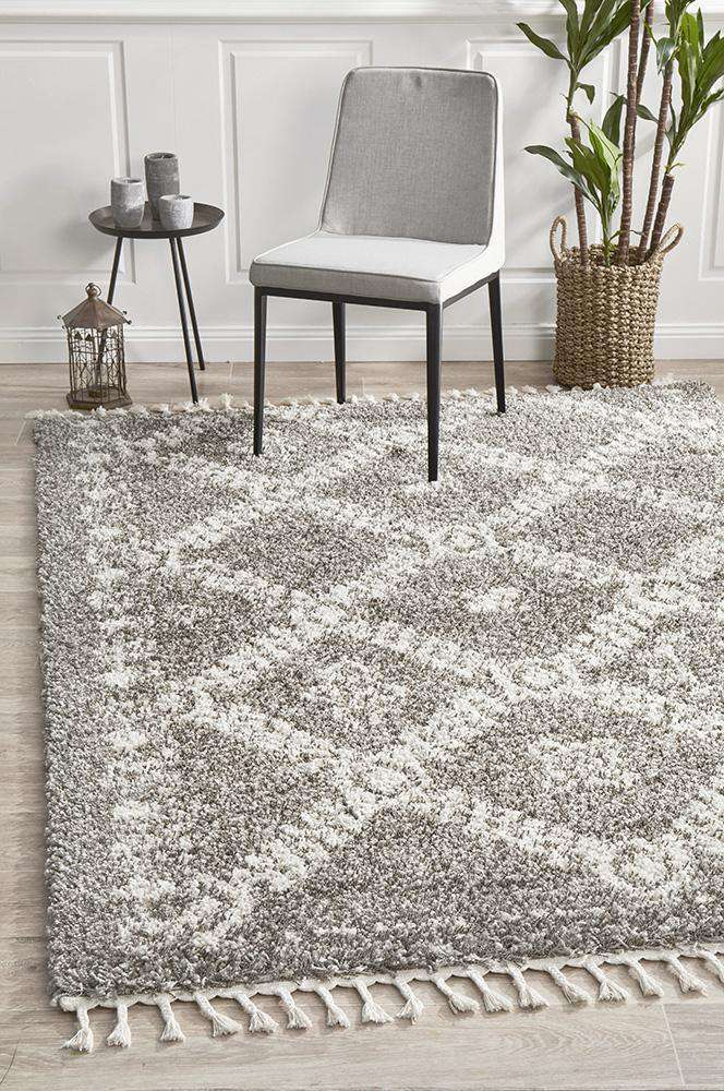 Sofia Grey Fringed Boho Rug - Simple Style Co