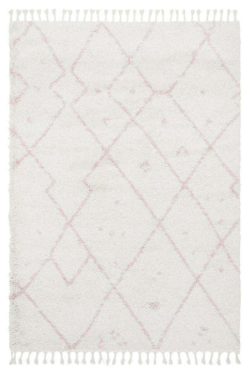 Nahla Fringed Tribal Rug Pink | Free Delivery | Shop Rugs Online