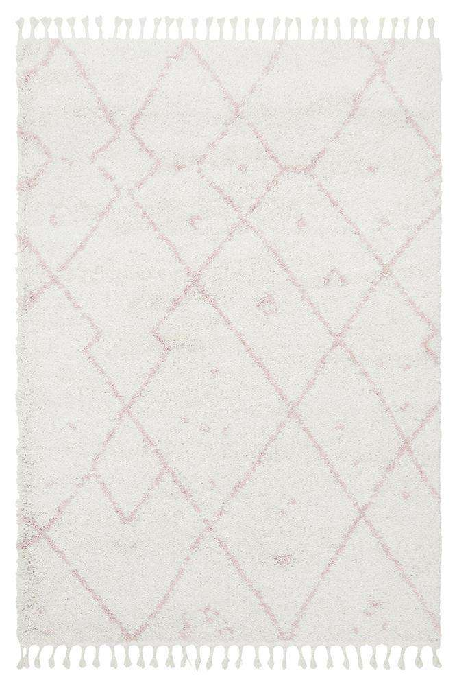 Nahla Fringed Tribal Rug - Pink - Simple Style Co