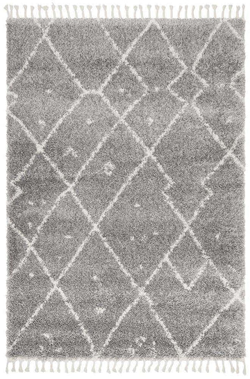 Nahla Fringed Tribal Rug Silver | Shop Rugs Online | Free Delivery