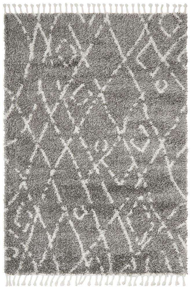 Zafira Fringed Grey Tribal Rug - Simple Style Co