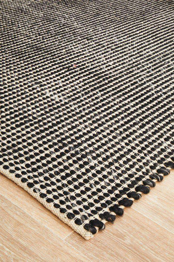 Skandi Felted Wool Rug - Black