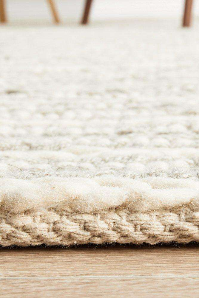 Catia Grey & Ivory Braided Wool Rug - Simple Style Co
