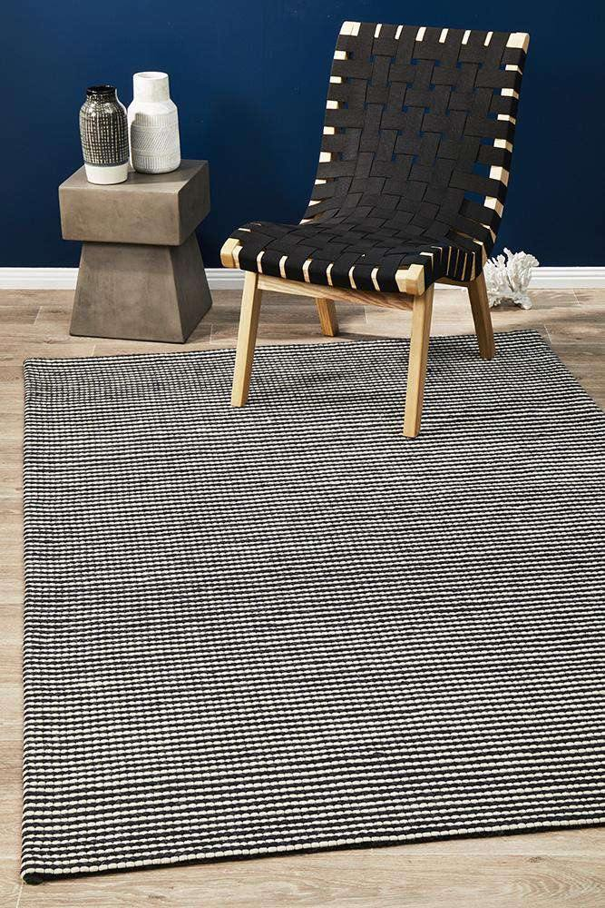 Arles Black Wool & Viscose Rug - Simple Style Co