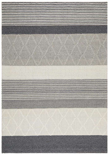 Alerett Grey Stripe Wool & Viscose Rug - Simple Style Co