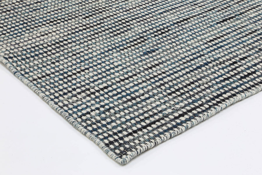 Scandi Teal Blue Wool Rug