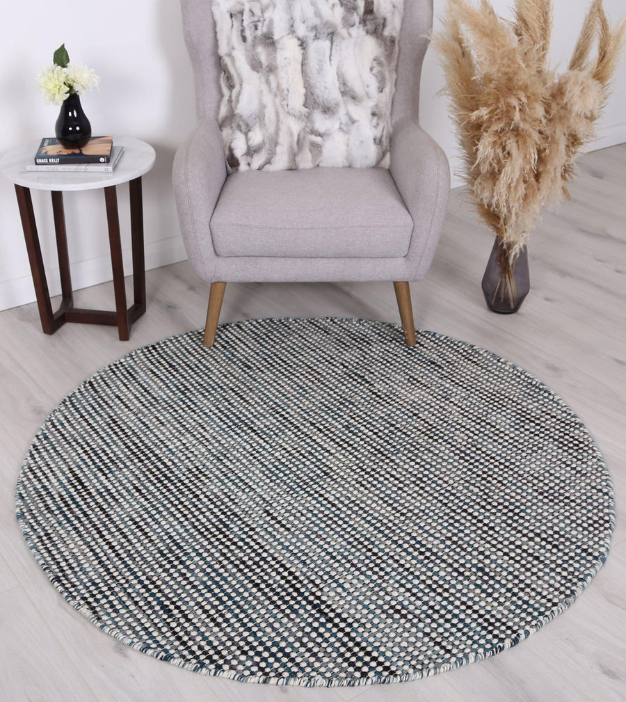Scandi Teal Blue Reversible Wool Round Rug - Simple Style Co