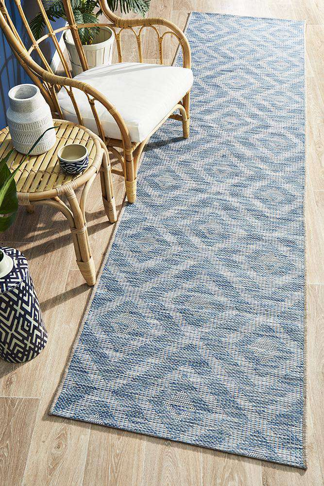 Piraeus Outdoor Runner Blue | Outdoor Rugs | AfterPay Rugs | Free Delivery