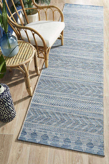 Pylos Outdoor Runner Blue | Outdoor Rugs | AfterPay Rugs | Free Delivery