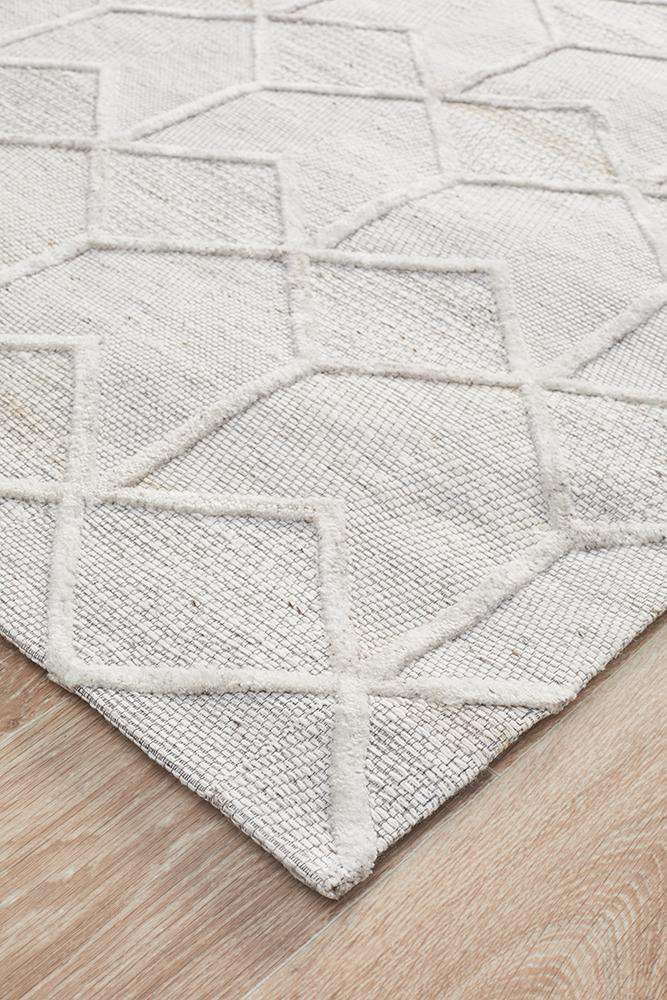 Wescott Wool Rug | Geometric Textured Hand Loomed Rug | Wool Rugs