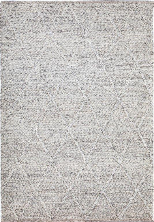 Willow Light Grey Diamond Felted Wool Rug - Simple Style Co