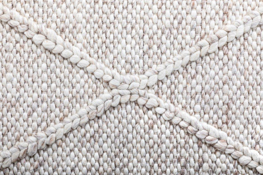 Willow Diamond Felted Wool Rug - Beige - Simple Style Co