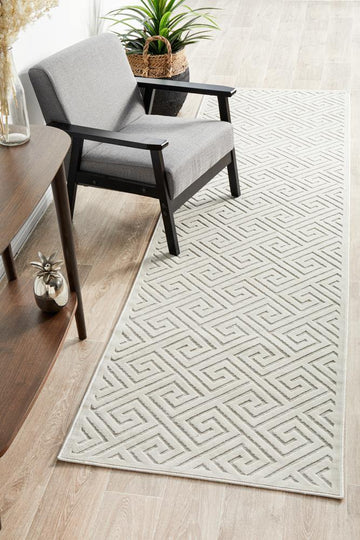 Alice Natural White Geometric Runner Rug - Simple Style Co