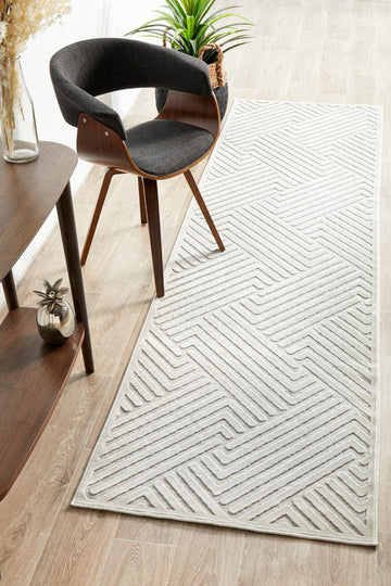 Cindy Natural White Geometric Runner