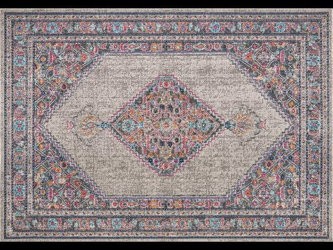 Fethiye Grey Distressed Diamond Rug