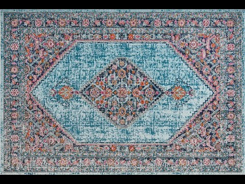Fethiye Blue Distressed Diamond Rug
