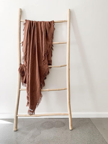 Feather & Oak Ramie Rust Fringed Throw - Simple Style Co