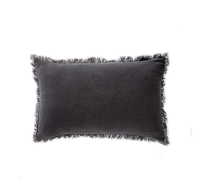 Ramie Lumbar Cushion Cover - Charcoal
