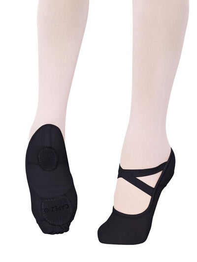 CAPEZIO HANAMI STRETCH CANVAS CHILD BALLET SHOE 2037C BLACK & WHITE
