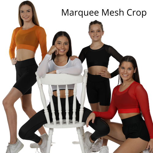 COSI G STUDIOWEAR MARQUEE MESH CROP TOP RED