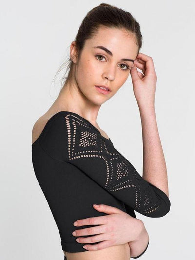 Capezio Off the Shoulder Seamless Deco Crop Top 1131W