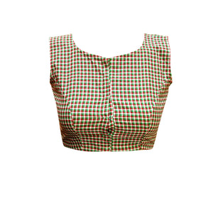 Boat Neck South Cotton Sleeveless Readymade Blouse