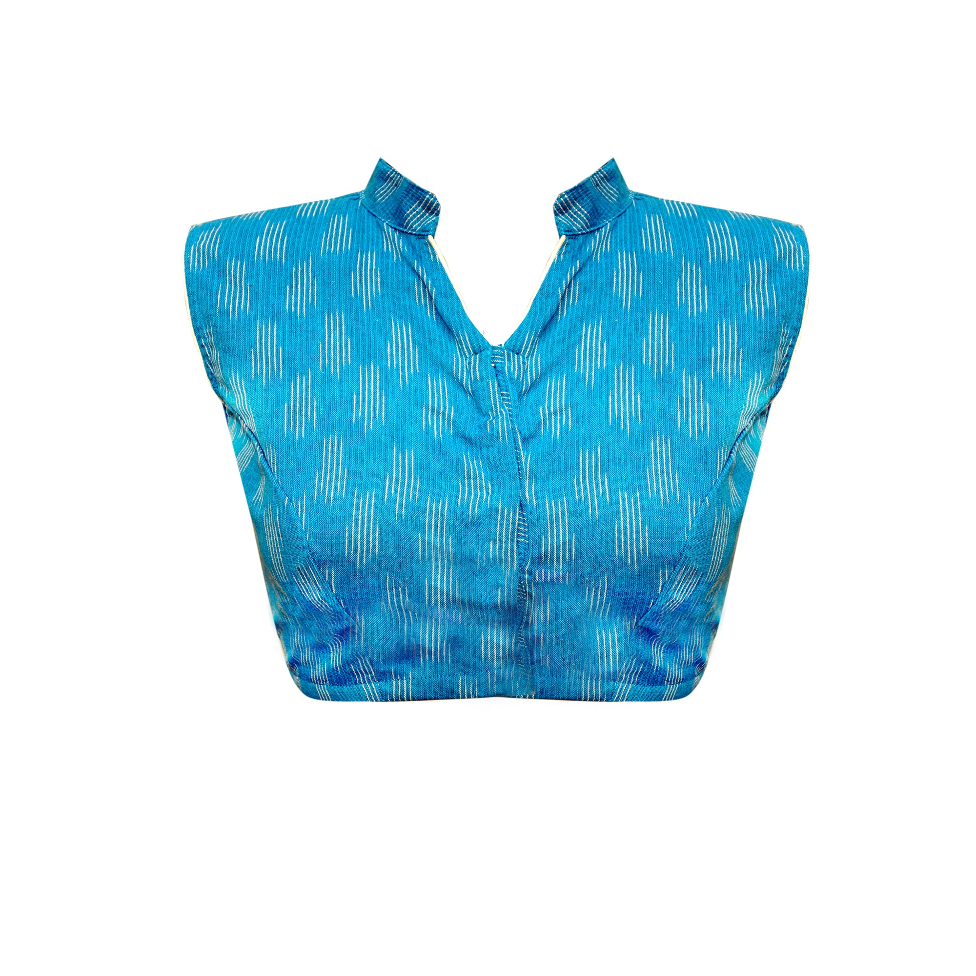 Collar Neck Ikkat Sleeveless Readymade Blouse