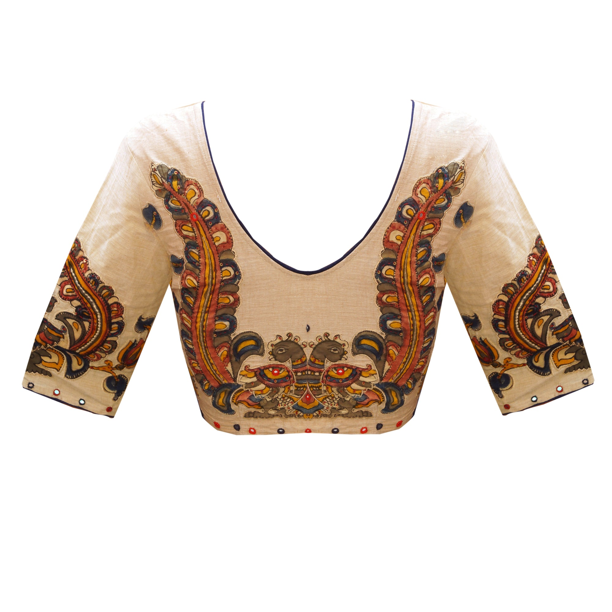 Traditional Unique Design Deep 'V' Neck South Cotton and PenKalamkari Elbow Sleeves Applique Work Readymade Blouse