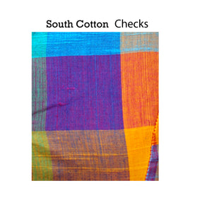 Deep Neck South Cotton Checks Sleeveless Readymade Blouse