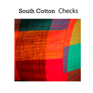 Boat Neck South Cotton Plain & Checks Sleeveless Readymade Blouse