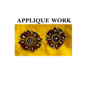 Deep Neck Applique work Readymade Blouse