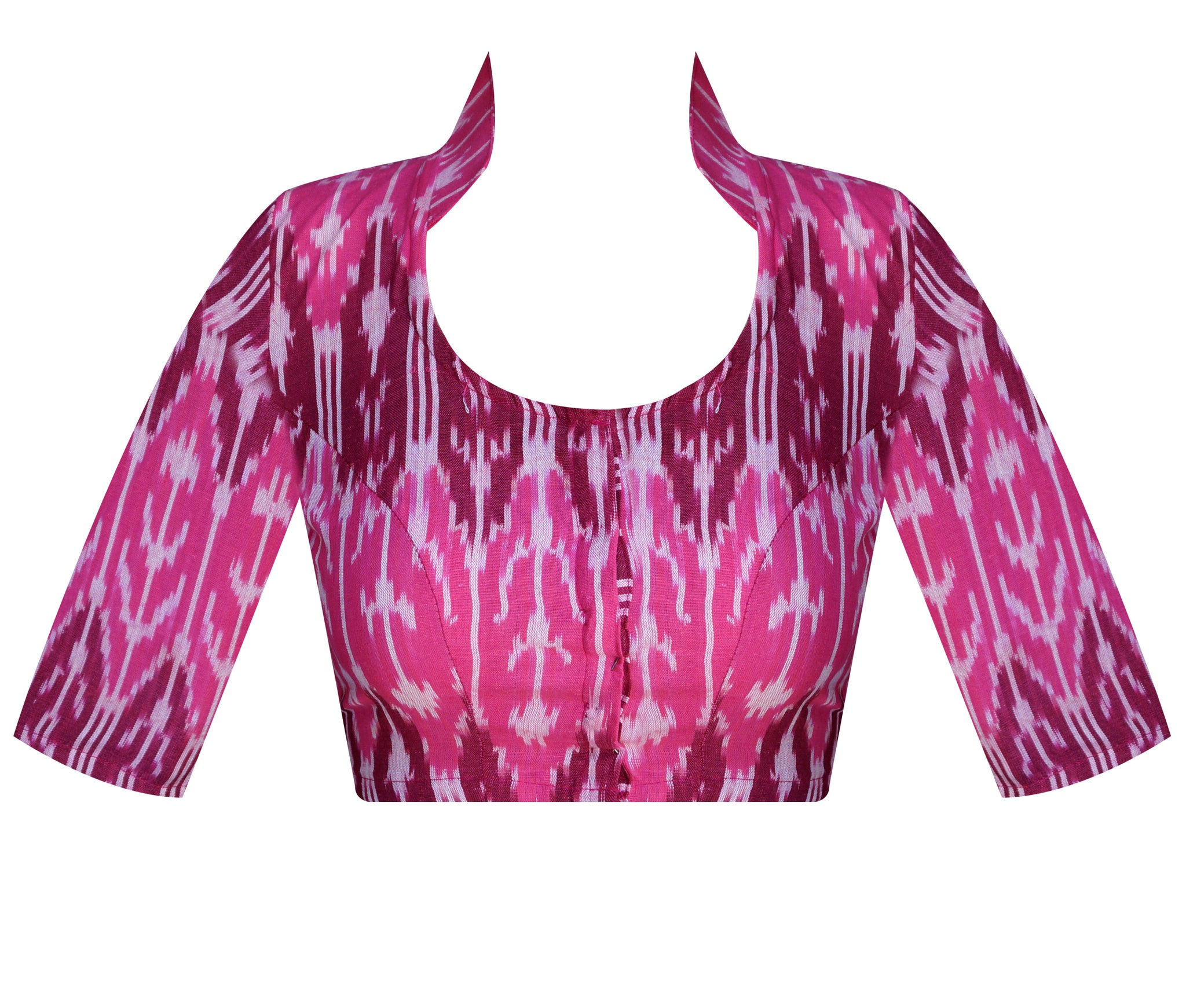 d38c9c548ea48 Collar Neck Ikkat Elbow Sleeves Readymade Blouse - Master Weaver Ethnics  India