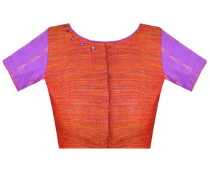 Boat Neck South Cotton & Ikkat Readymade Blouse