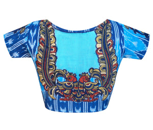 Boat Neck Ikkat Applique Work Readymade Blouse