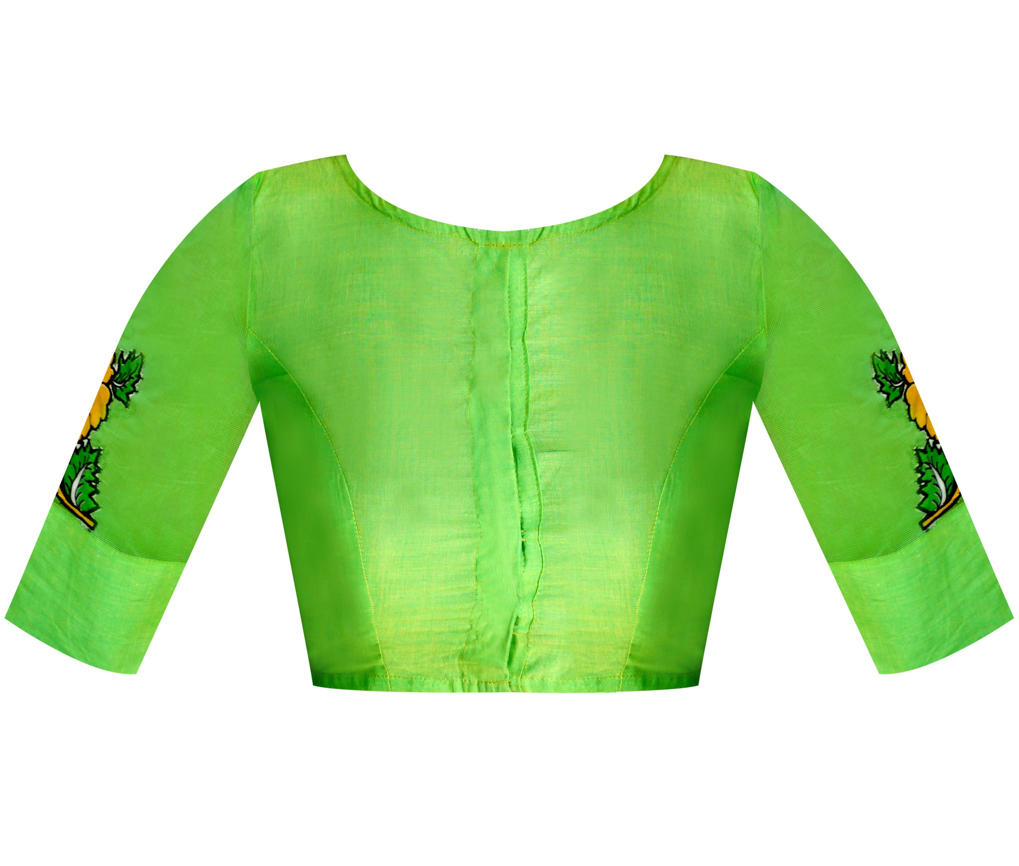 Boat Neck Supernet & South Cotton Applique Work Elbow Sleeves Readymade Blouse