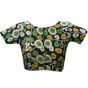 Boat Neck Kalahasthi Allover Floral Readymade Blouse