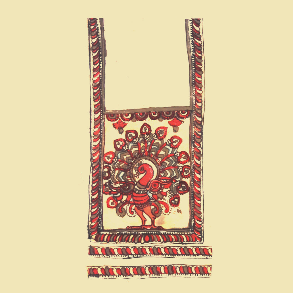 Pen Kalamkari Neck Patch