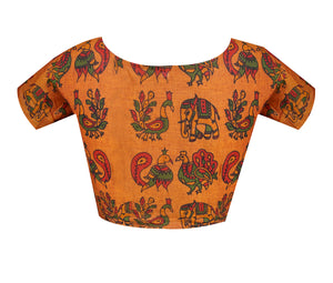 Boat Neck South Cotton Kalamkari Printed Readymade Blouse