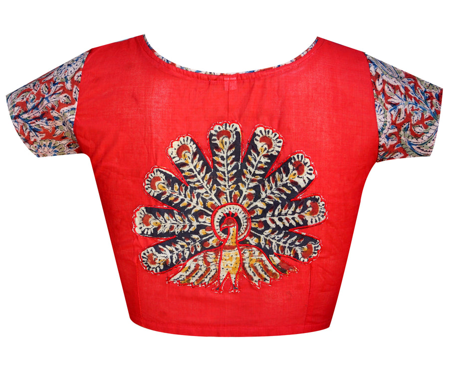 Boat Neck South Cotton & Kalamkari Applique Work Readymade Blouse