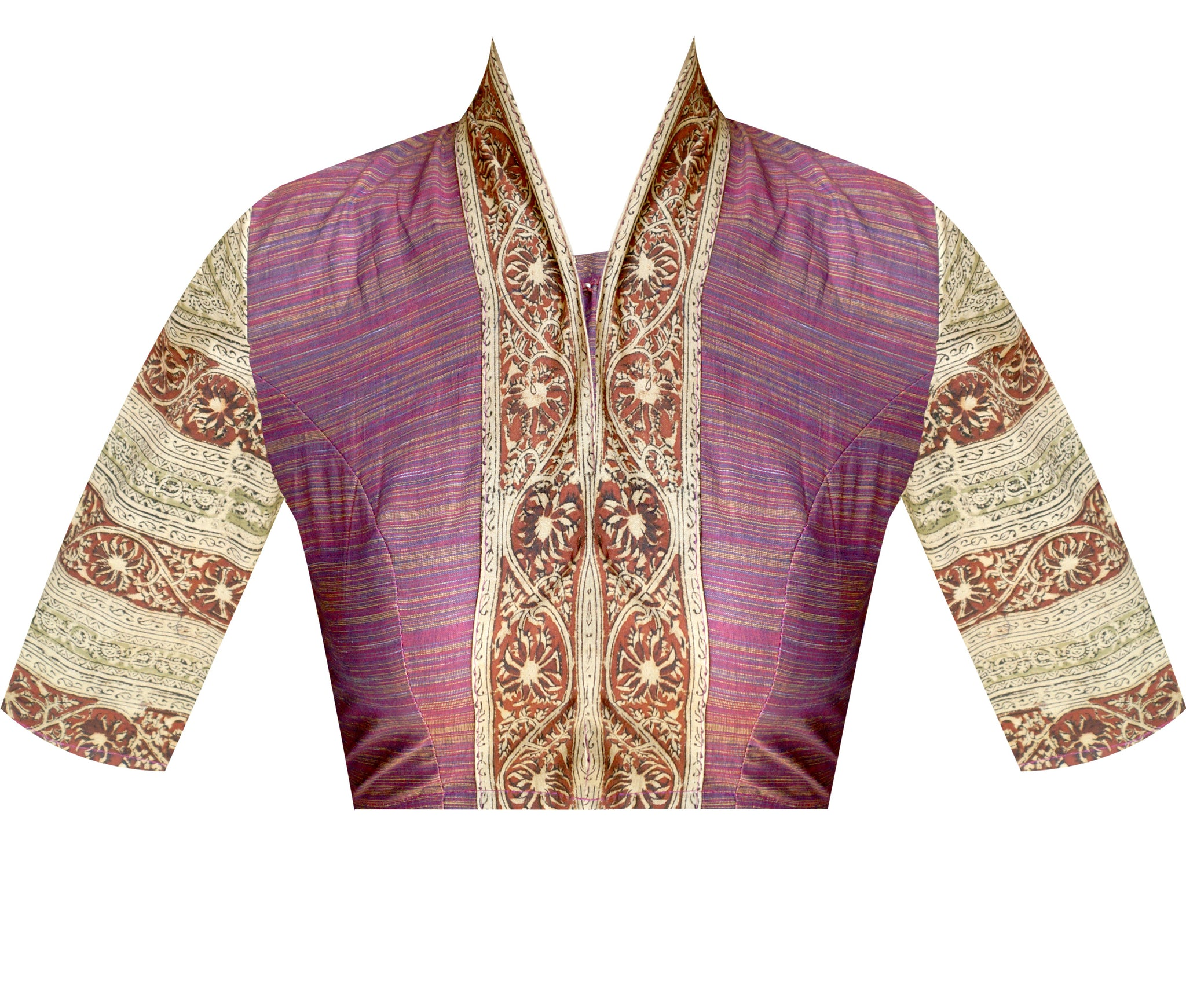 Collar Neck South Cotton and Kalamkari Elbow Sleeves Readymade Blouse