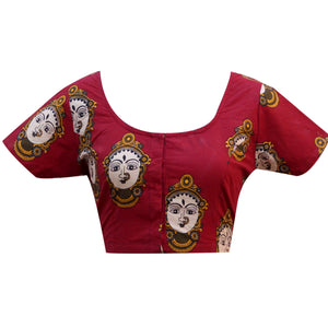 Deep Neck Face print Readymade Blouse