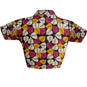 Collar Neck Leaf Print Readymade Blouse