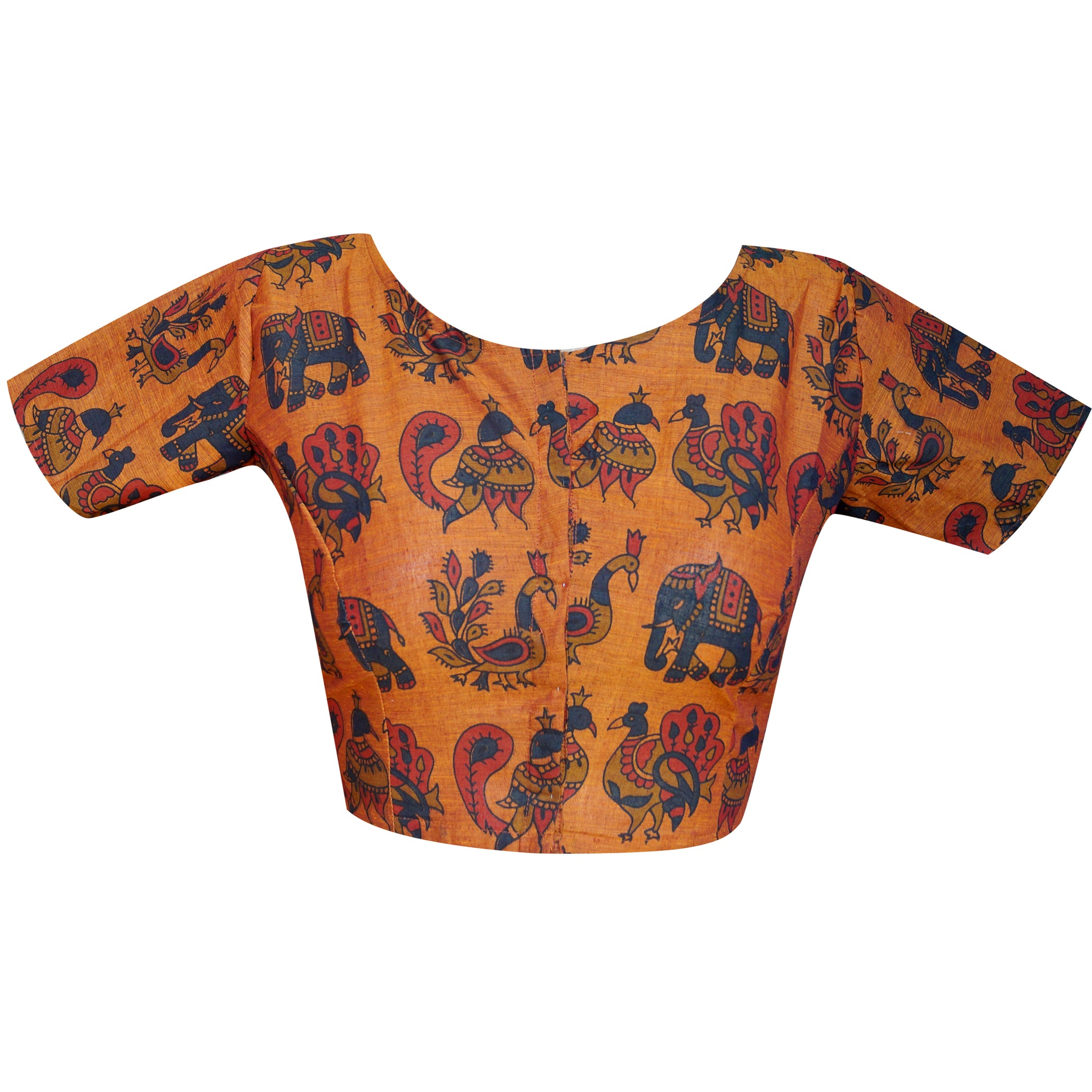 69b808baf1353e Boat Neck South Cotton Kalamkari printed Readymade Blouse - Master Weaver  Ethnics India